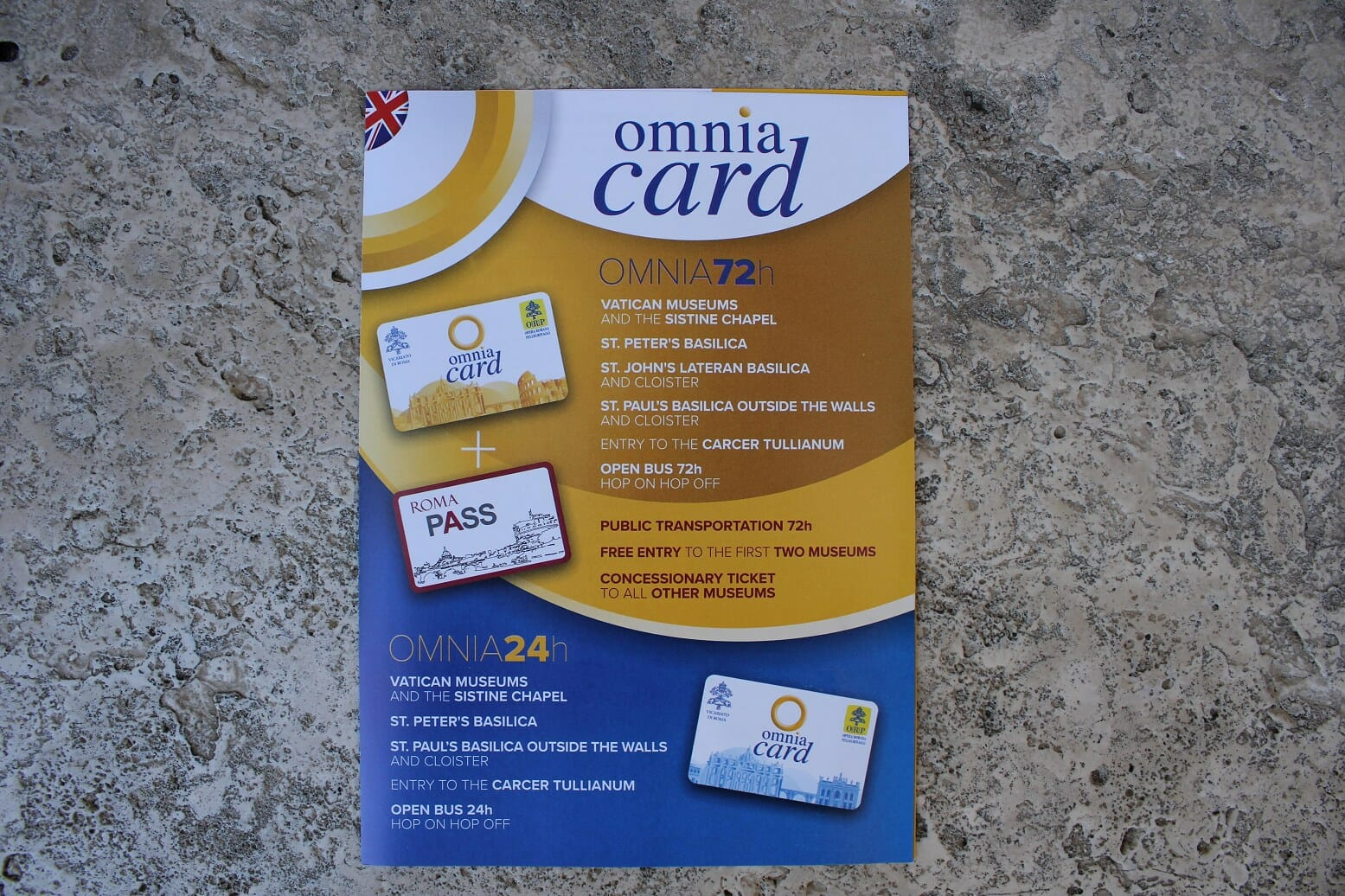 Roma pass cost omnia card rome