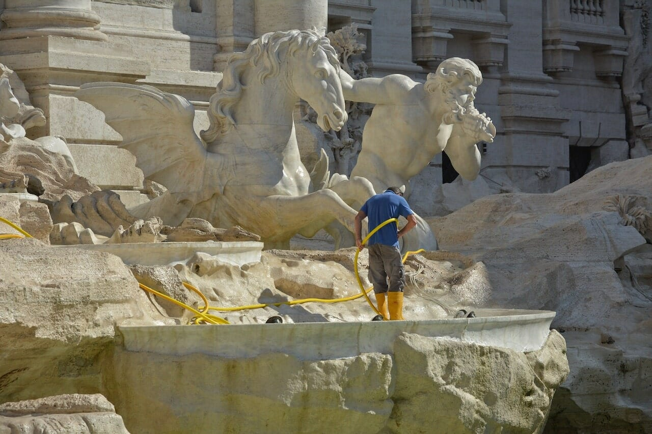 trevi fountain facts coins cleaning
