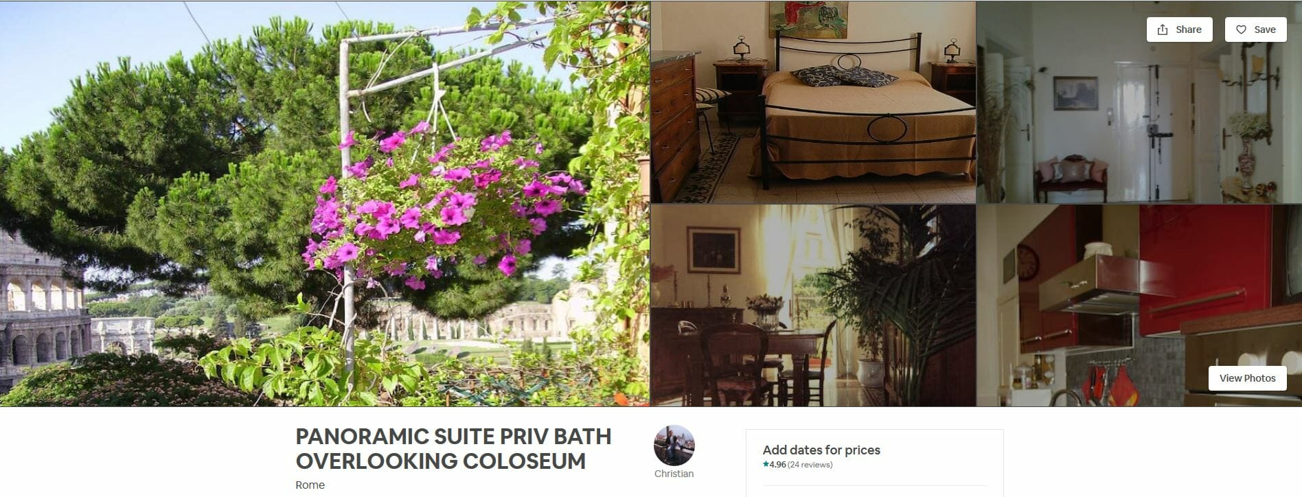 best airbnbs rome Panoramic Suite Private