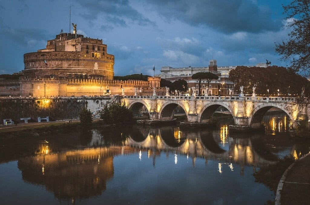 rome romantic Tiber River castel san angelo by Night