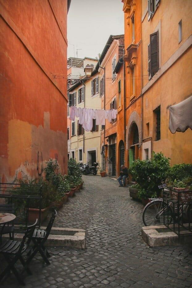 street trastevere rome italy