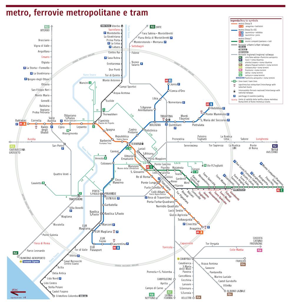 rome city map metro