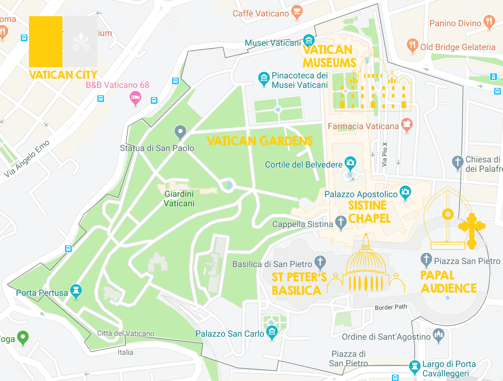 rome city map of the vatican